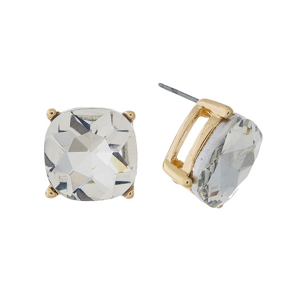 "Gold tone stud earrings with a clear rhinestone. Approximately 1/2"" in length."
