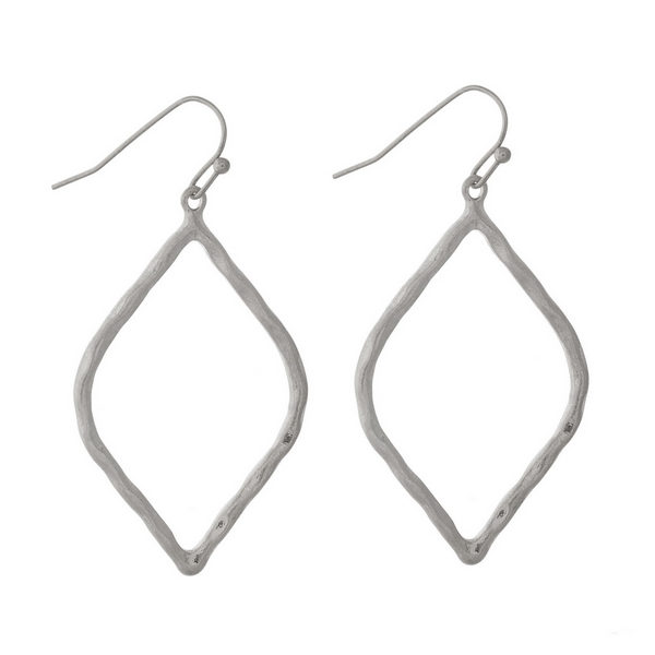 "Silver tone fishhook earrings with a hammered, open teardrop shape. Approximately 1.5"" in length."