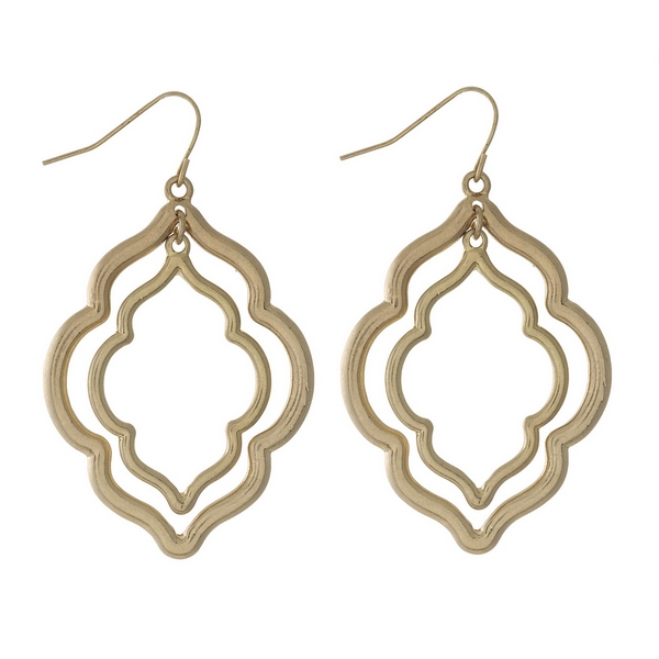 "Gold tone fishhook earrings with two moroccan shapes. Approximately 2"" in length."