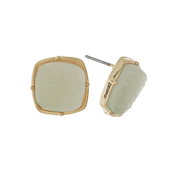 "Gold tone stud earrings with a mint green, square shaped faux druzy stone. Approximately 1/2"" in length."