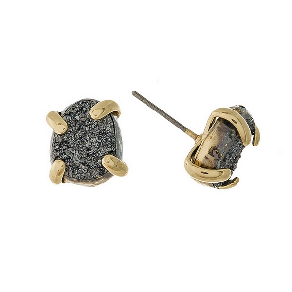 """Gold tone stud earrings with a gray druzy stone. Approximately 1/3"""" in length."""