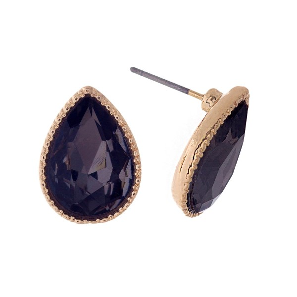 "Gold tone teardrop stud earrings with a gray rhinestone. Approximately 1/2"" in length."