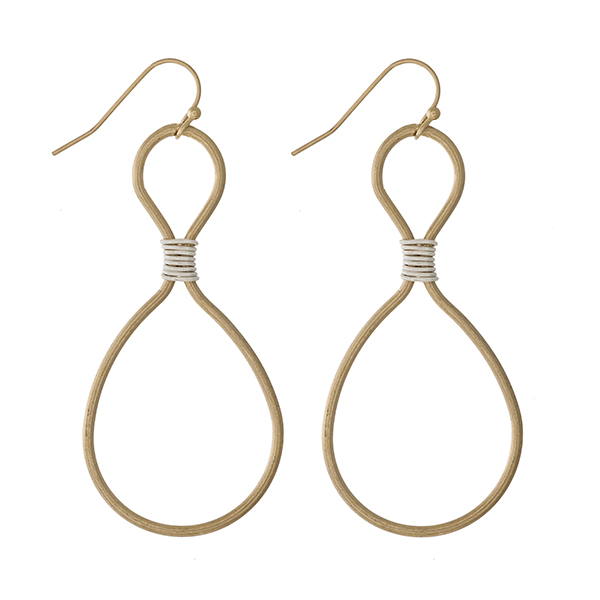 Wholesale gold fishhook earrings silver wire wrapping detailing