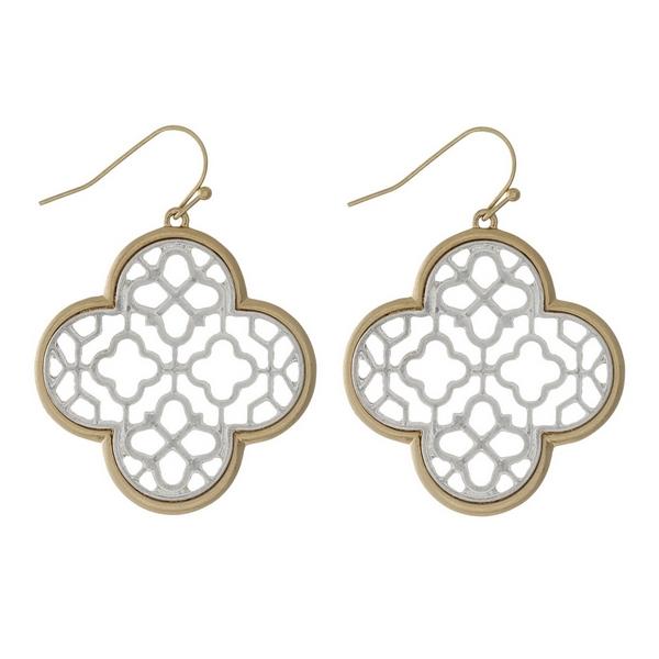 Wholesale gold fishhook earrings two clover