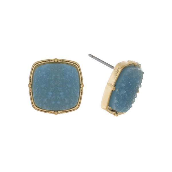 "Gold tone stud earrings with a light blue, square shaped faux druzy stone. Approximately 1/2"" in diameter."
