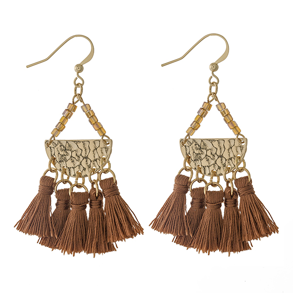 """Gold tone fishhook earrings with topaz beads and four brown thread tassels. Approximately 2.5"""" in length."""