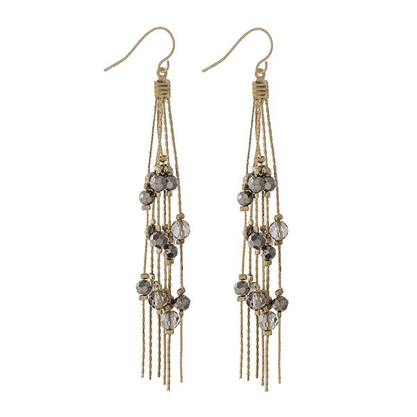 "Gold tone fishhook earrings with hematite beaded fringe earrings. Approximately 3"" in length."