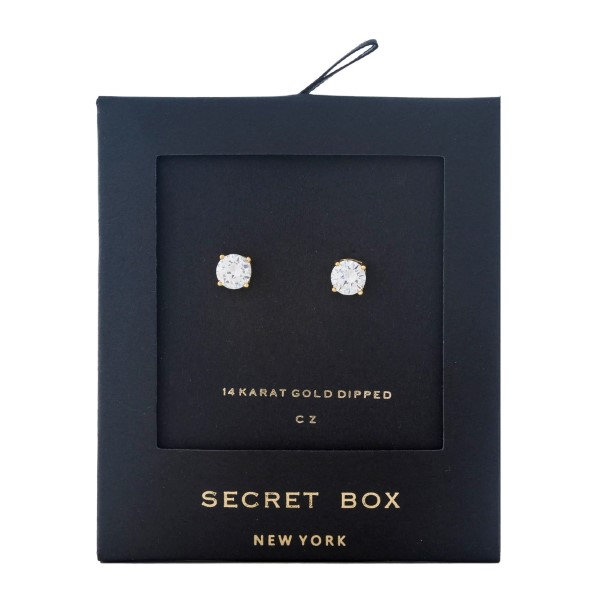 """Secret Box 14 karat gold dipped over brass clear rhinestone stud earrings. Approximately 1/4"""" in diameter. Sold in a gift box."""