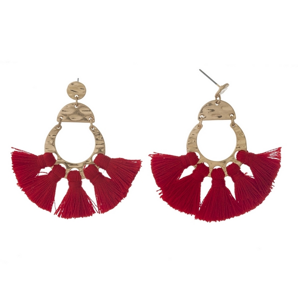 Wholesale gold post earrings five red tassels