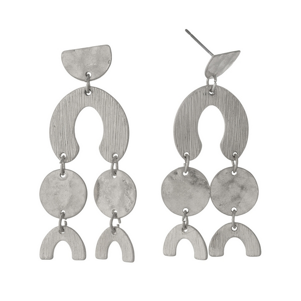 "Silver tone post earrings with geometric shapes. Approximately 2"" in length."