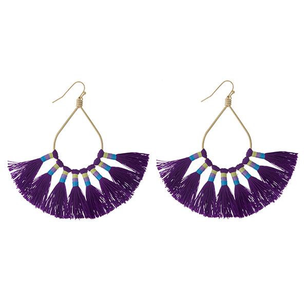 Wholesale gold fishhook earrings open oval eight purple thread tassels