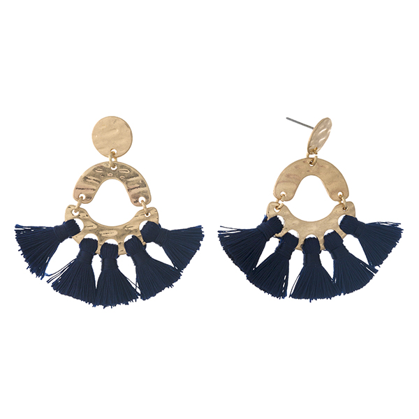 """Hammered gold tone stud earrings with navy blue thread tassels. Approximately 2"""" in length."""