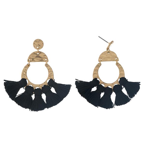 Wholesale gold post earrings five black tassels