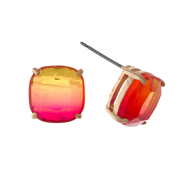 Wholesale gold stud earrings red orange ombre stone