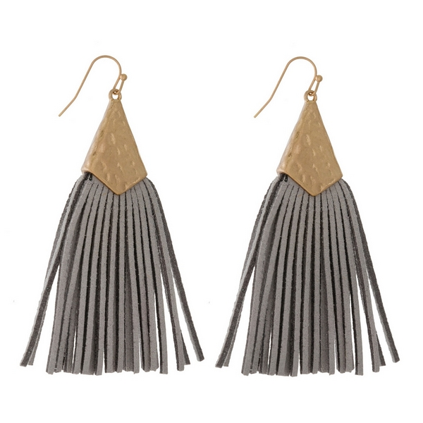 Wholesale gold fishhook earrings hammered gold faux leather tassel