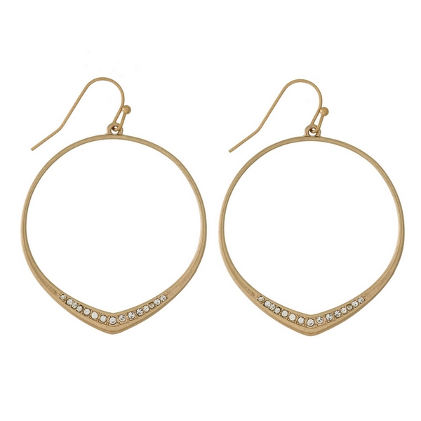 Wholesale dainty fishhook earrings open circle clear rhinestone accents