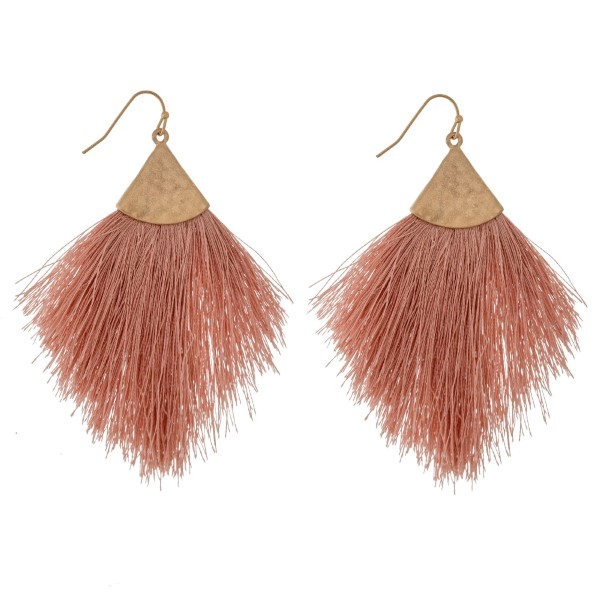 "Thread tassel earrings. Approximately 3.5"" in length."