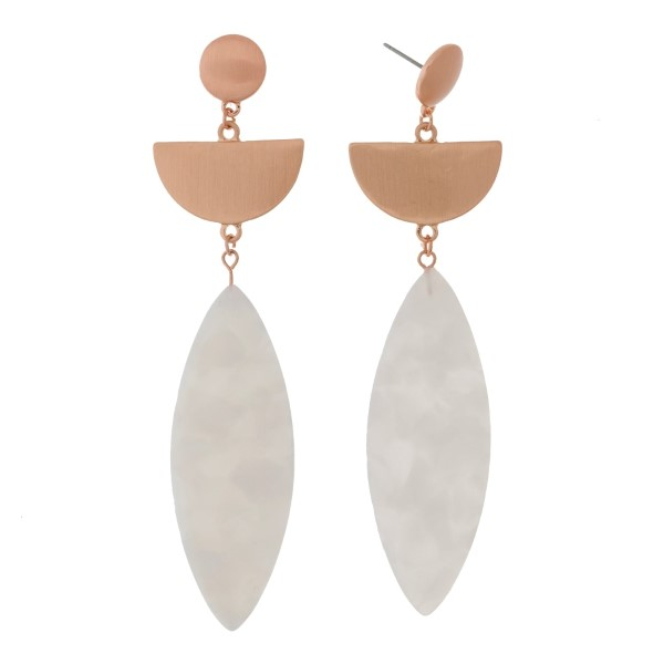 """Brushed rose gold tone post earrings with an oval acetate shape. Approximately 3"""" in length."""
