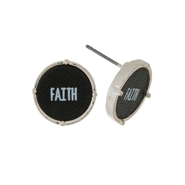"""Dainty, circle stud earrings with leather and stamped with """"Faith."""" Approximately 1/2"""" in diameter."""