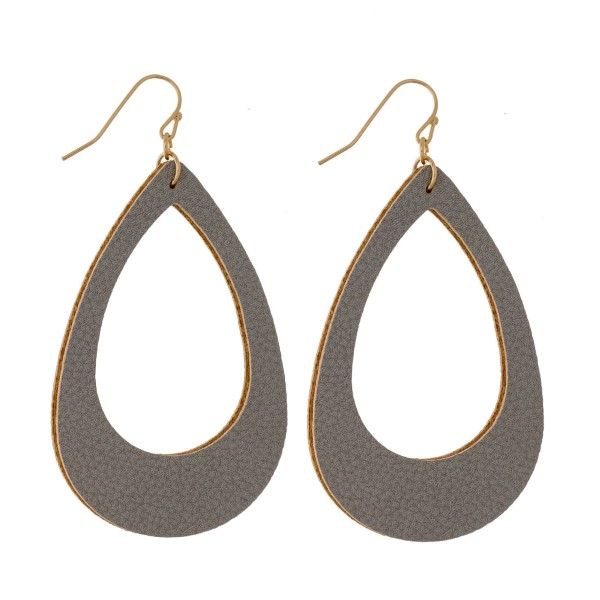 Wholesale gold fishhook earrings faux leather teardrop