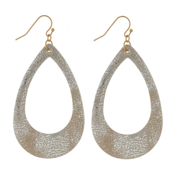 Wholesale gold fishhook earrings faux leather teardrop metallic finish