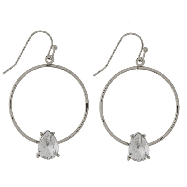 "Silver tone, fishhook earrings with an open circle shape and rhinestone accent. Approximately 1"" in diameter."