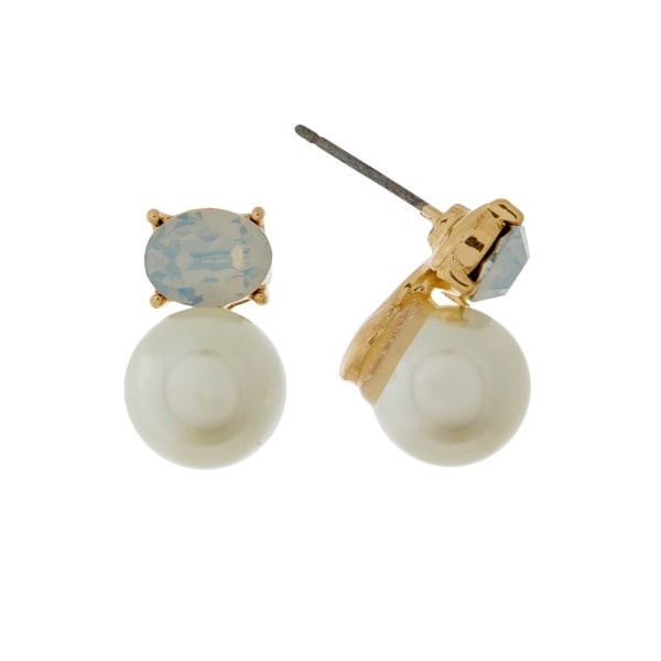 "Pearl and rhinestone stud earrings with a gold backing. Approximately 1/2"" in length."
