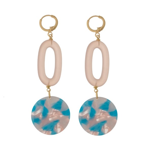 """Gold tone, leaver back earrings with oval and circle acetate shapes. Approximately 2.5"""" in length."""