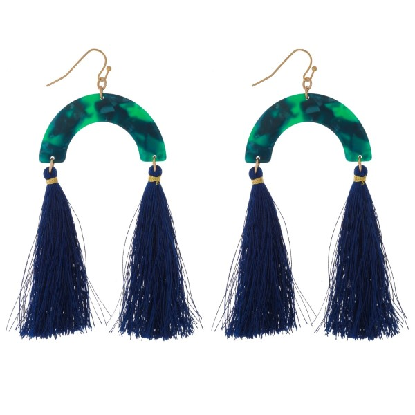 """Fishhook earrings with an acetate half circle shape and two thread tassels. Approximately 3.5"""" in length."""