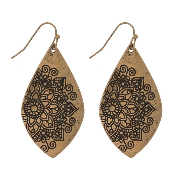 Wholesale burnished metal fishhook earrings teardrop flower imprint