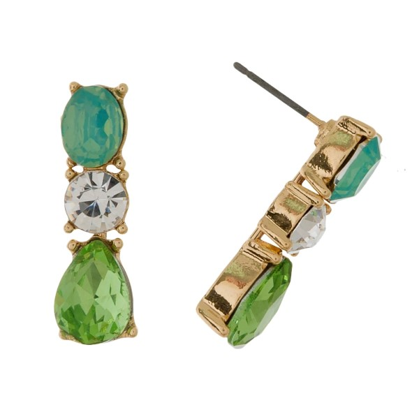 """Stud earrings with clear and opal rhinestones. Approximately 1"""" in length."""