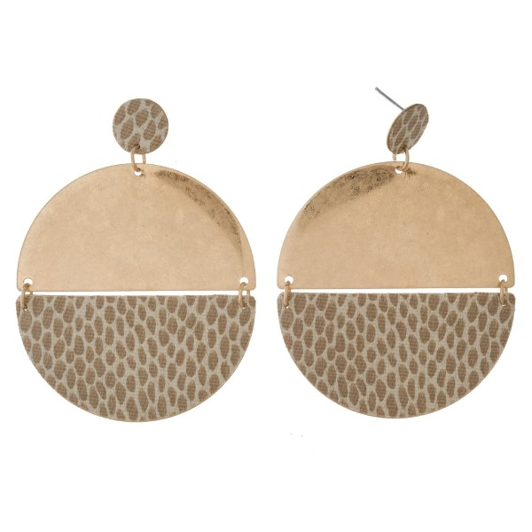 """Gold tone post earrings with a circle shape and animal print accents. Approximately 2.5"""" in length."""