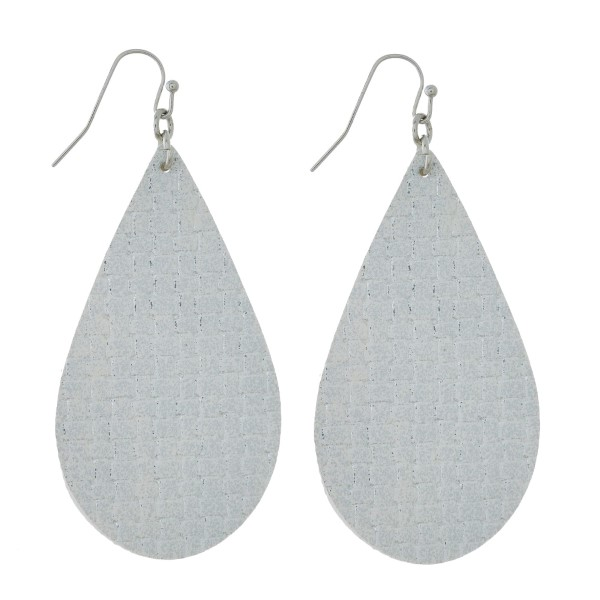 Wholesale faux leather earrings teardrop metallic basketweave