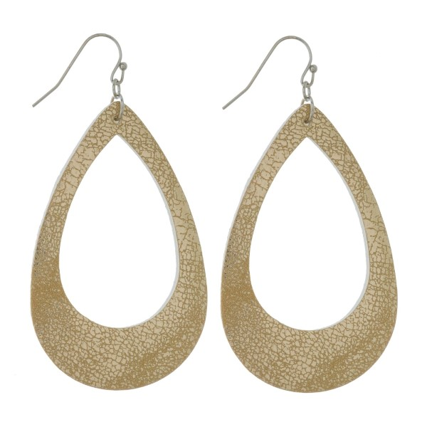 """Faux leather earrings with a cutout teardrop shape and a metallic look. Approximately 2.5"""" in length."""