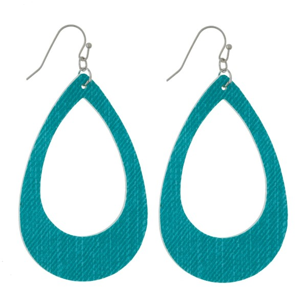 """Faux leather earrings with a cutout teardrop shape and a denim look. Approximately 2.5"""" in length."""