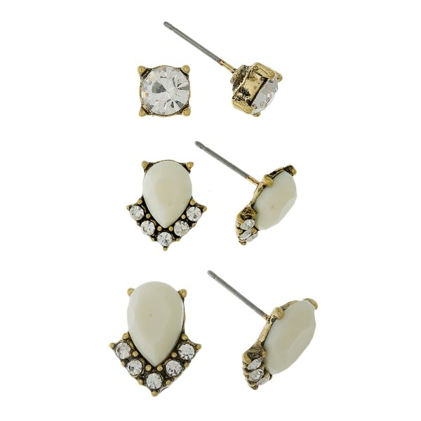 Dainty, three pair earring set with rhinestone and epoxy studs.