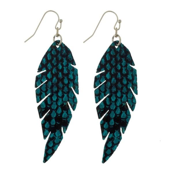 Wholesale faux leather fishhook earrings feather snakeskin pattern