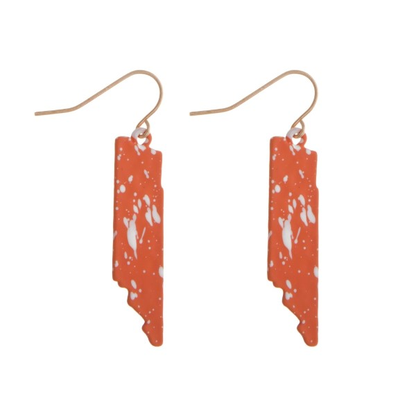 "Fishhook earrings with a splatter painted state shape. Approximately 1.5"" in length."