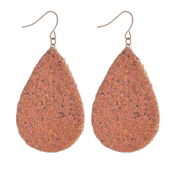 "Fishhook earring with teardrop shape accented with glitter. Approximately 2.5"" in length."