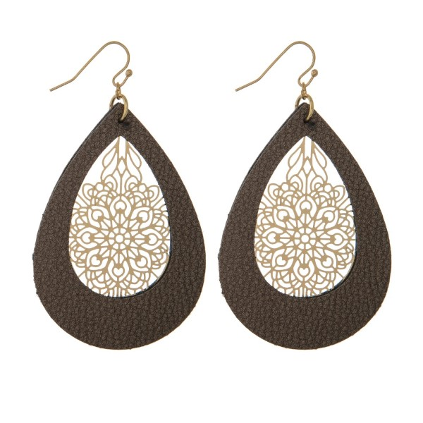 "Gold tone, fishhook earrings with leather teardrop shape and filigree pattern. Approximately 2"" in length."