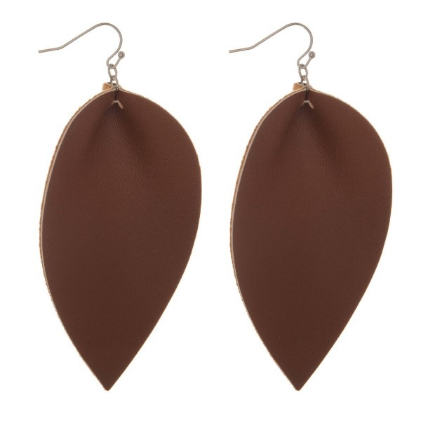 "Fishhook, drop faux leather earrings. Approximately 3"" in length."