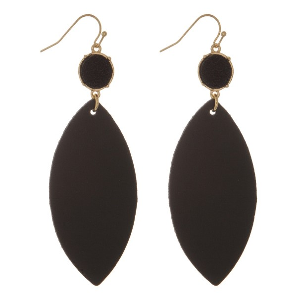 """Fishhook earrings with a faux druzy stone and a faux leather oval shape. Approximately 3.25"""" in length."""