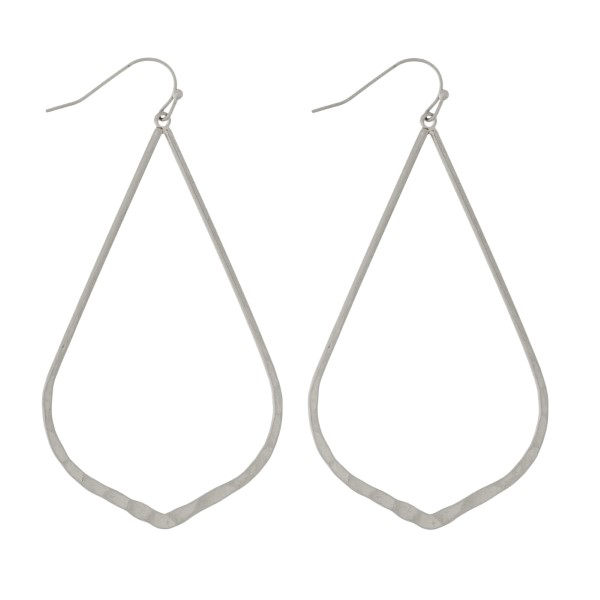 "Hammered metal, fishhook earrings with teardrop shape. Approximately 2.5"" in length."