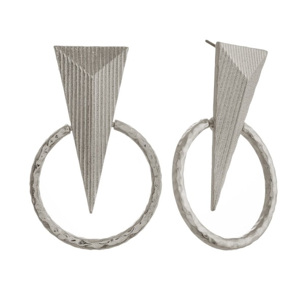 Wholesale metal post earring hammered circle