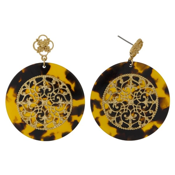 "Metal and acetate post style earrings with a filigree circle. Approximately 1.5"" in length"