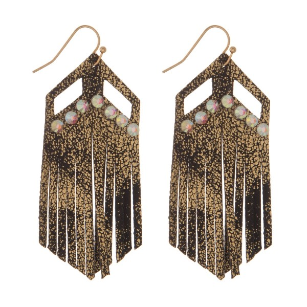 """Gold tone, fishhook earring with a printed suede design and rhinestone detail. Approximately 3"""" in length."""