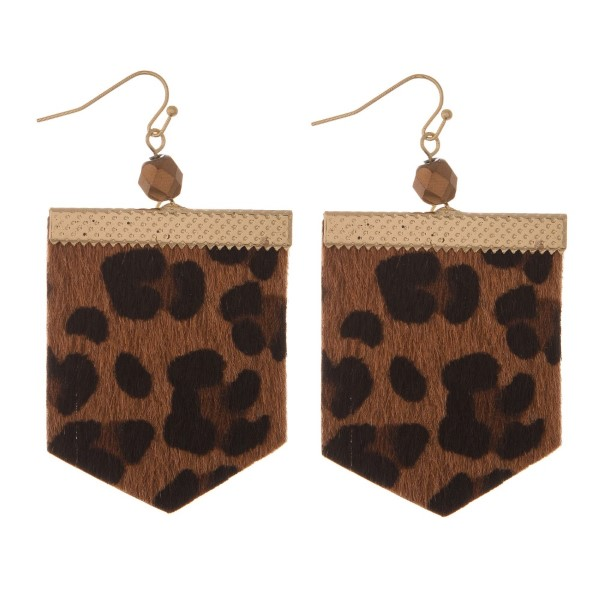 "Gold tone, fishhook earring with printed suede design and faceted bead. Approximately 2.5"" in length."