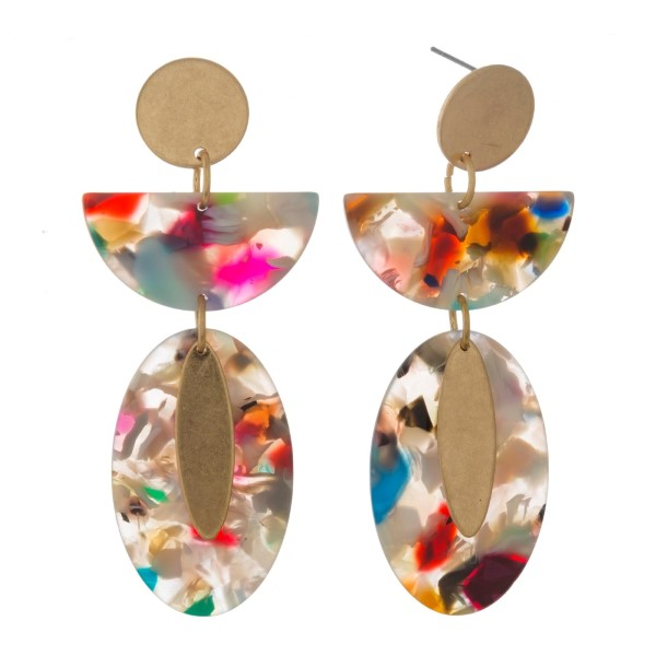 """Gold tone post earrings with geometric shaped acetate and metal. Approximately 2.5"""" in length."""