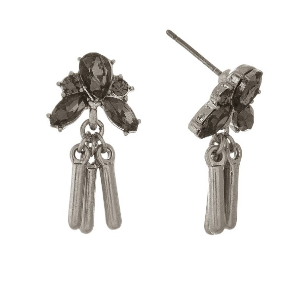 """Dainty, post earring with rhinestone detail and metal charms. Approximately 1"""" in length."""