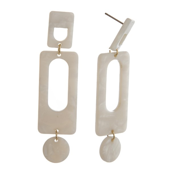 """Gold tone, post earring with geometric acetate design. Approximately 2"""" in length."""